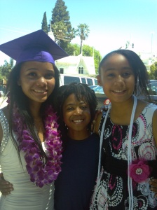 Daughter SK graduated from high school. Pictured with son JK and niece JA