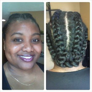 natural hair goddess braid and bun